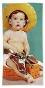 1960s Baby Wearing Cowboy Hat Beach Sheet