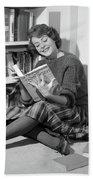 1960s Smiling Young Woman Teen Sitting Beach Sheet