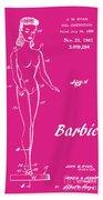 1961 Barbie Doll Patent Art 1 Beach Towel