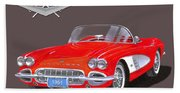 1961 Corvette Convertible Beach Towel