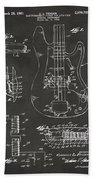 1961 Fender Guitar Patent Artwork - Gray Beach Towel by Nikki Marie Smith