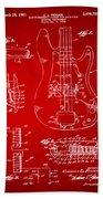1961 Fender Guitar Patent Artwork - Red Beach Towel