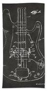 1961 Fender Guitar Patent Minimal - Gray Beach Towel by Nikki Marie Smith