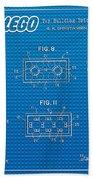 1961 Lego Building Blocks Patent Art 1 Beach Towel