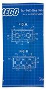 1961 Lego Building Blocks Patent Art 4 Beach Towel