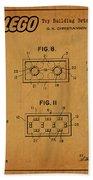 1961 Lego Building Blocks Patent Art 6 Beach Towel