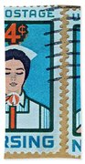1962 Nursing Stamp Collage - Oakland Ca Postmark Beach Towel