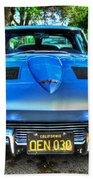 1963 Blue Corvette Stingray-front View Beach Towel