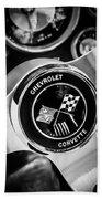 1963 Chevrolet Corvette Split Window Steering Wheel Emblem -309bw Beach Towel