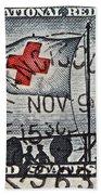 1963 Red Cross Stamp - San Francisco Postmark Beach Towel