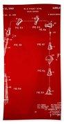 1963 Space Capsule Patent Red Beach Towel