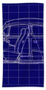 1963 Volkswagon Beetle Blueprint Beach Towel