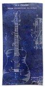 1966 Fender Acoustic Guitar Patent Drawing Blue Beach Towel