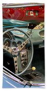 1967 Blue Corvette-interior And Wheel Beach Towel