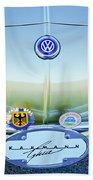 1967 Volkswagen Vw Karmann Ghia Hood Emblem Beach Towel