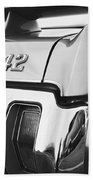 1970 Olds 442 Black And White Beach Towel
