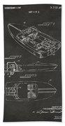 1972 Chris Craft Boat Patent Artwork - Gray Beach Towel