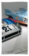 1972 Porsche 917 Lh Coupe And 1970 Porsche 917 Kh Coupe Beach Towel