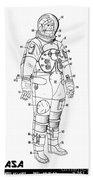 1973 Nasa Astronaut Space Suit Patent Art 3 Beach Towel