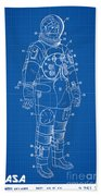 1973 Nasa Astronaut Space Suit Patent Art Beach Towel