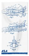 1975 Nasa Space Shuttle Patent Art 2 Beach Towel