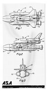 1975 Nasa Space Shuttle Patent Art 3 Beach Towel