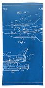 1975 Space Shuttle Patent - Blueprint Beach Towel by Nikki Marie Smith