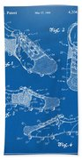 1980 Soccer Shoes Patent Artwork - Blueprint Beach Towel