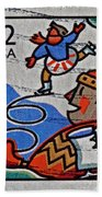 1996 Winter Skaters Stamp Beach Towel