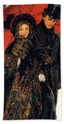 19th C. Young Couple In Winter Beach Towel