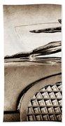 1937 Cadillac V8 Hood Ornament Beach Towel