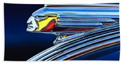 1939 Pontiac Silver Streak Chief Hood Ornament Beach Towel