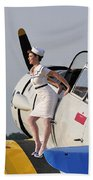 1940s Style Pin-up Girl Sitting Beach Towel