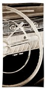 1956 Oldsmobile Starfire 98 Steering Wheel And Dashboard Beach Towel