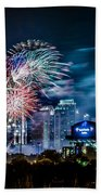 4th Of July Firework Over Charlotte Skyline Beach Towel
