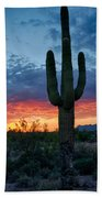 A Saguaro Sunset  Beach Towel