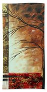 Abstract Gold Textured Landscape Painting By Madart Beach Towel