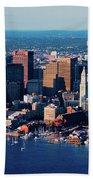 Aerial Morning View Of Boston Skyline Beach Towel