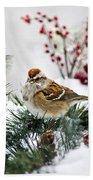 Christmas Sparrow Beach Towel