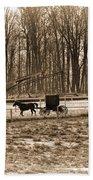 Amish Buggy And Corn Crib Beach Towel