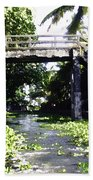 An Old Stone Bridge Over A Canal In Alleppey Beach Towel