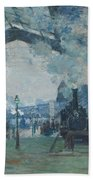 Arrival Of The Normandy Train Beach Towel