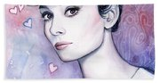 Audrey Hepburn Fashion Watercolor Beach Towel