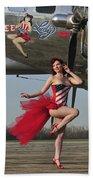 Beautiful 1940s Style Pin-up Girl Beach Towel