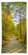 Beautiful Autumn Forest Mountain Stair Path At Sunset Beach Towel