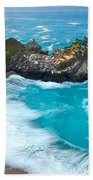 Beautiful Mcway Falls Along The Big Sur Coast. Beach Towel