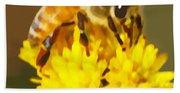 Bee On A Yellow Flower Beach Towel