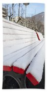 Bench With Snow Beach Towel