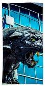Black Panther Statue Beach Towel