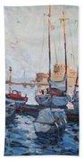 Boats In Rhodes Greece  Beach Towel